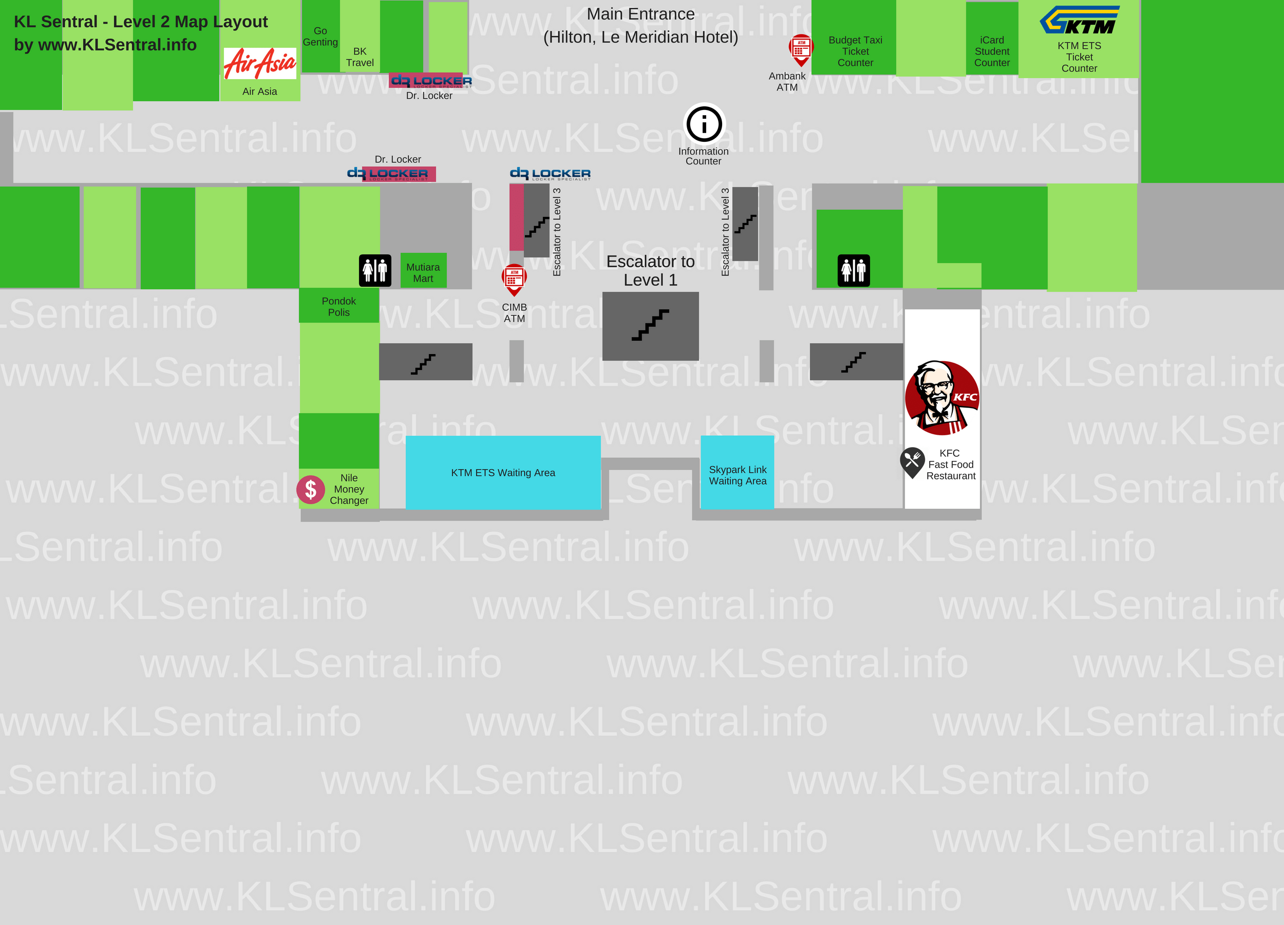 KL Sentral Station Directory Level 2 Map
