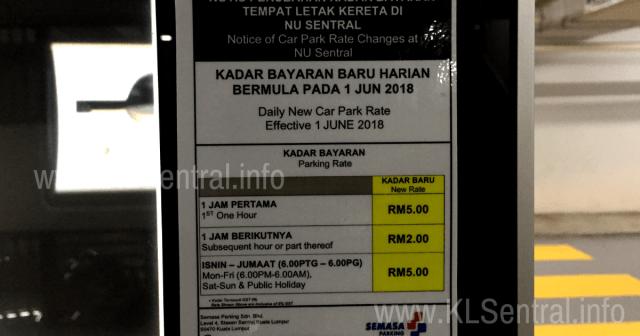 NU Sentral Parking Rate