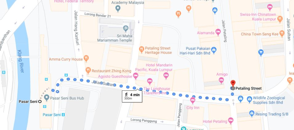 walking from Pasar Seni LRT to Petaling Street Chinatown KL