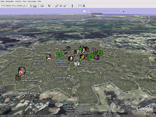Plazes on Google Earth