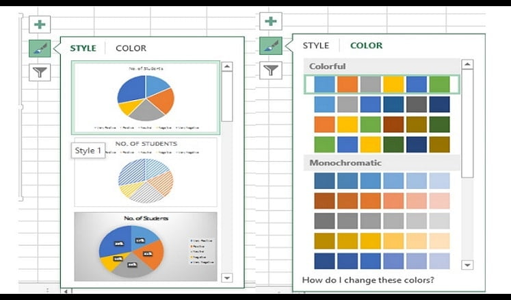 Microsoft Excel-style and color properties