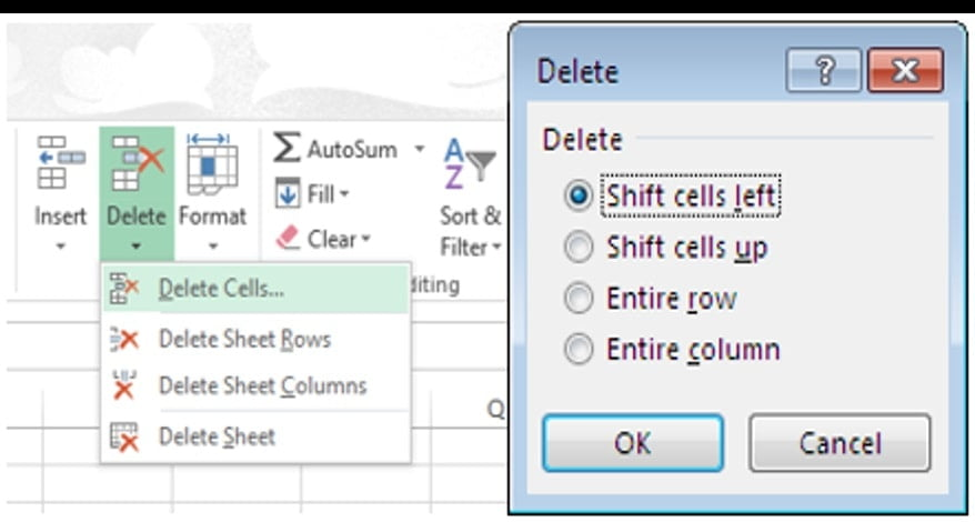 deleting cells