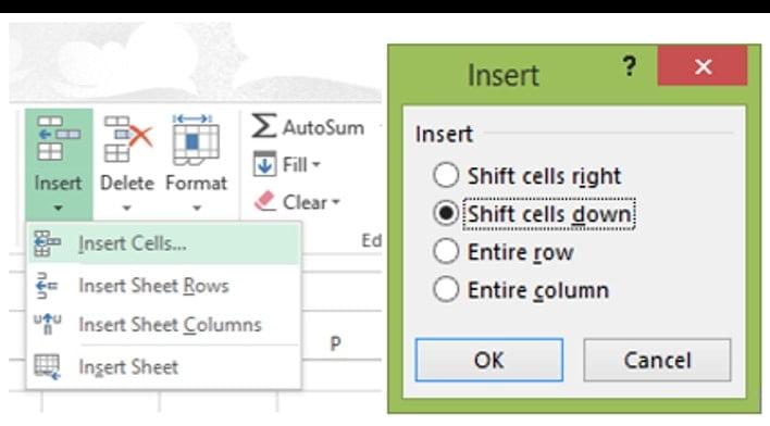 Inserting cells