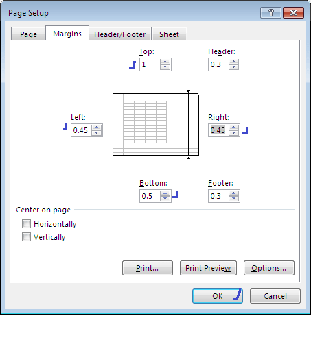 data entry - margins setup