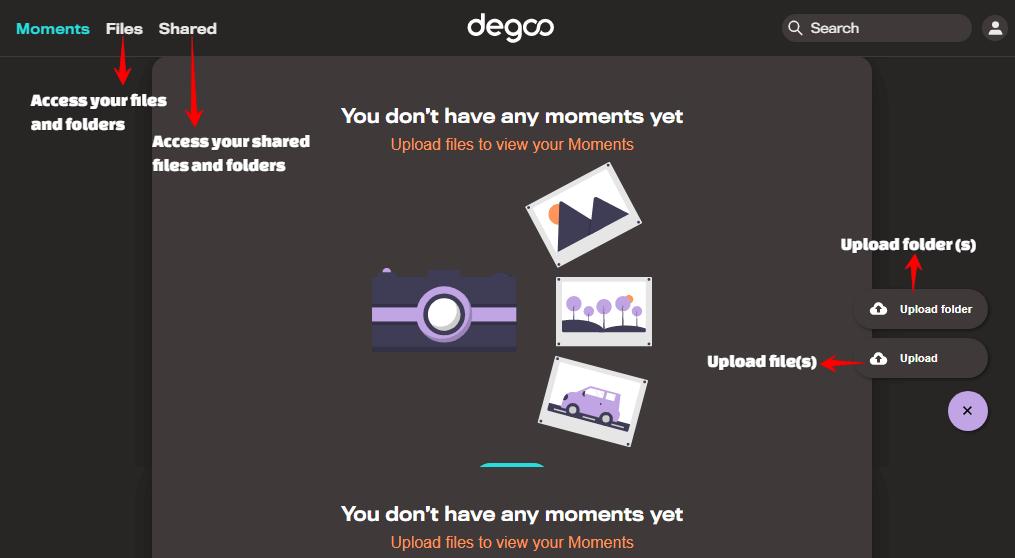 degoo free cloud storage dashboard