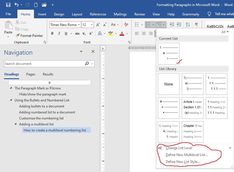 paragraph formatting - add multilevel list