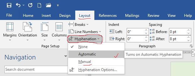 apply hyphenation in Microsoft word tutorial