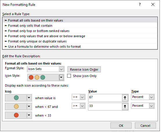 customizing icon sets in excel formatting