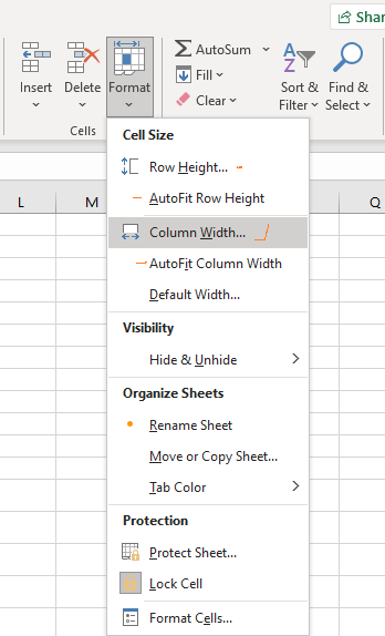resize multiple columns/ rows at the same time