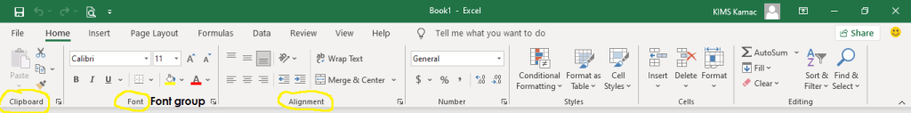 the excel ribbon commands