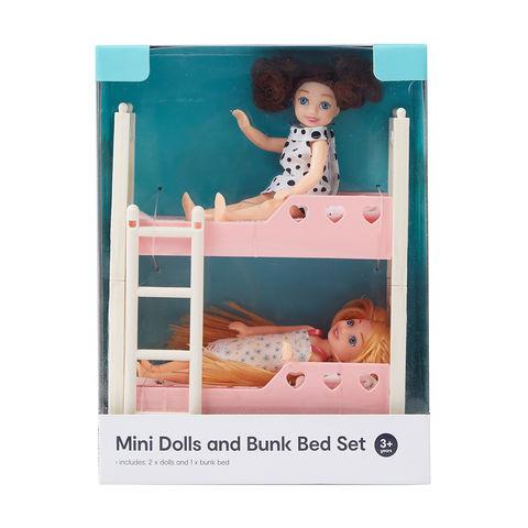 mini dolls and bunk bed set