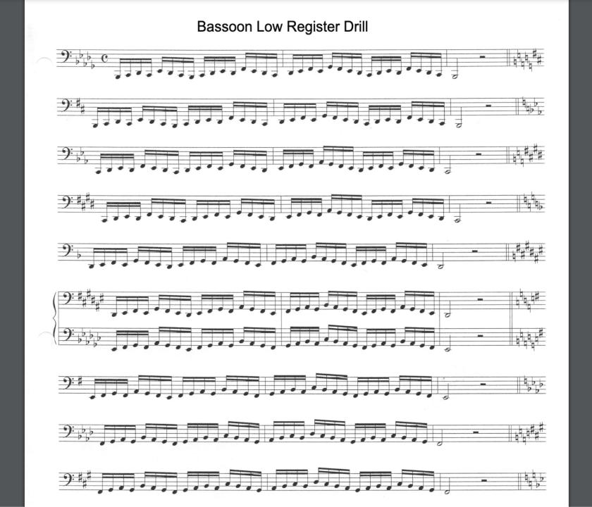 Bassoon Low Register Drill