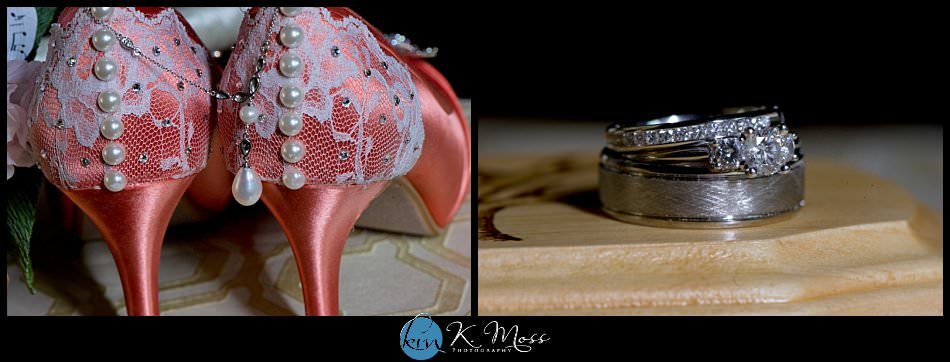 ellen wren shoes - coral lace wedding shoes - pearl necklace - custom ring box - wedding rings - stroudsburg pa wedding photographer - spring wedding - april wedding