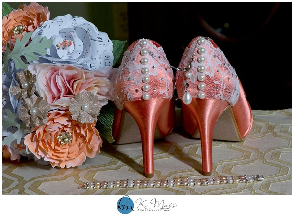 Coral wedding shoes with pearls