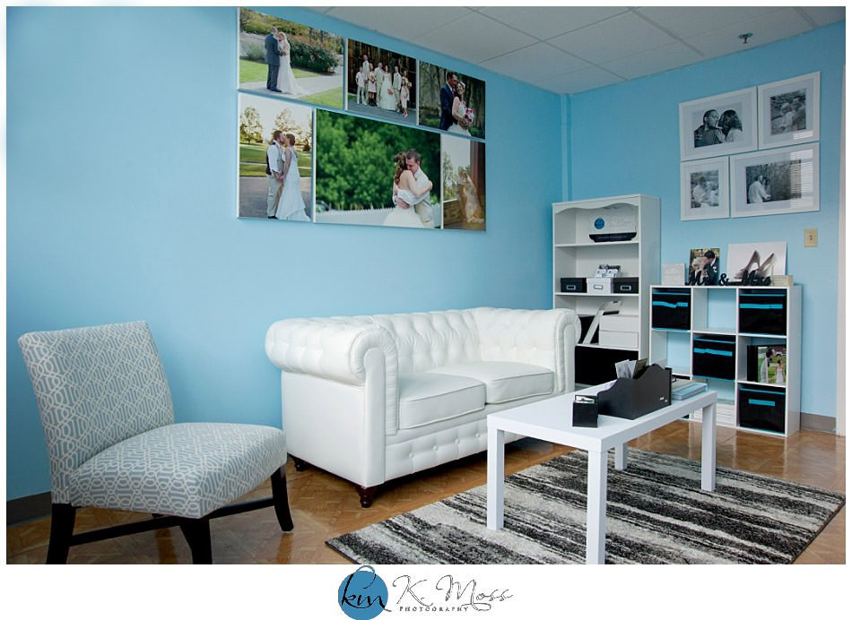 Blue and white wedding photography studio in Reading, PA