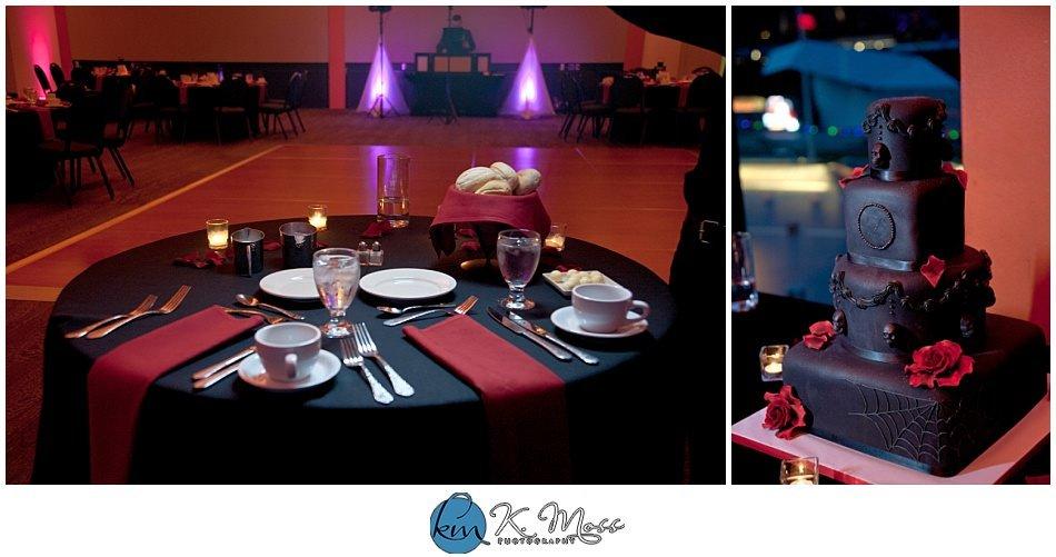 piece 'a cake llc - dj jimbo-Red and black wedding theme - pink uplighting - Steelstacks Bethlehem wedding | K. Moss Photography