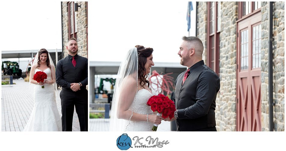 Garden of Eden-Christina's Bridal-bride and groom first look - berks county wedding photographer - - Steelstacks Bethlehem wedding | K. Moss Photography