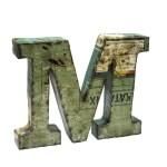 Lettera Monogramma, M, in Metallo Original Industrial Reused
