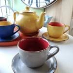 Tazza da Tea con Piattino, in Gres, Rosso e Grigio, Toscana