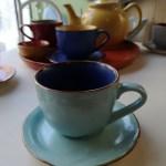 Tazza da Tea con Piattino, in Gres, Blu e Turchese, Toscana