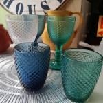 Bicchiere Diamanti Set 4, da Acqua, in Vetro, in Blu
