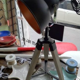 Lampada Abat Jour Faro Regia Treppiede Legno Metallo - KMV Home Store stocKMarket