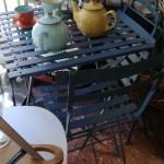 Set Tavolo e 2 Sedie, Bistrot Shabby, Azzurro, Richiudibile, da Interno o Esterno, in Metallo
