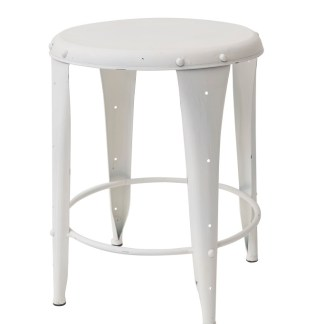 Sgabello Sedia Industrial Bianco Shabby Metallo - KMV Home Store stocKMarket