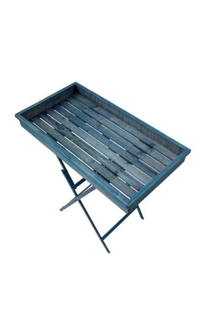 Vassoio Tavolo Pliant Blu Richiudibile Metallo Legno - Kmv Home Store stocKMarket