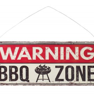 Insegna Targa Cartello Warning BBQ Zone Metallo Rilievo - KMV Home Store stocKMarket