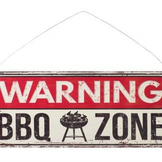Insegna Targa Cartello Warning BBQ Zone Metallo Rilievo - KMV Home Store stocKMarket