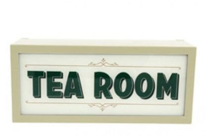 Insegna Targa Cartello Lampada Tea Room Luminosa Light Box Metallo Vetro Nero Bianco - KMV Home Store stocKMarket