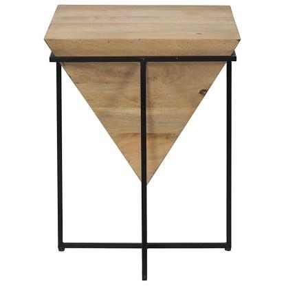 Comodino Tavolo Soggiorno Quadrato Piramide Luxor Legno Metallo - KMV Home Store stocKMarket
