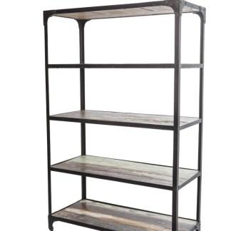 Libreria 5 Ripiani Ruote Metallo Legno Originale Reused - KMV Home Store stocKMarket