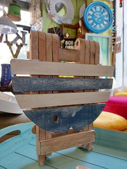 Tavolino Pesce Pieghevole Legno Decapato Bianco Azzurro - KMV Home Store stocKMarket