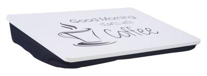 Vassoio Tavolino Cuscino Letto Divano Colazione Portacomputer Bianco Nero - KMV Home Store stocKMarket