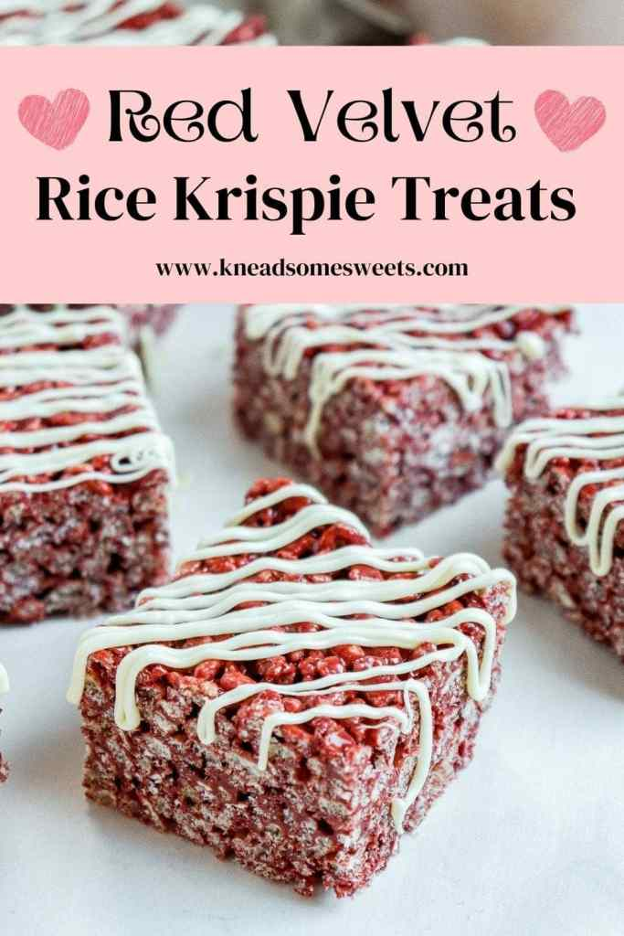 red velvet Rice Krispie treat topped with a drizzle of white chocolate