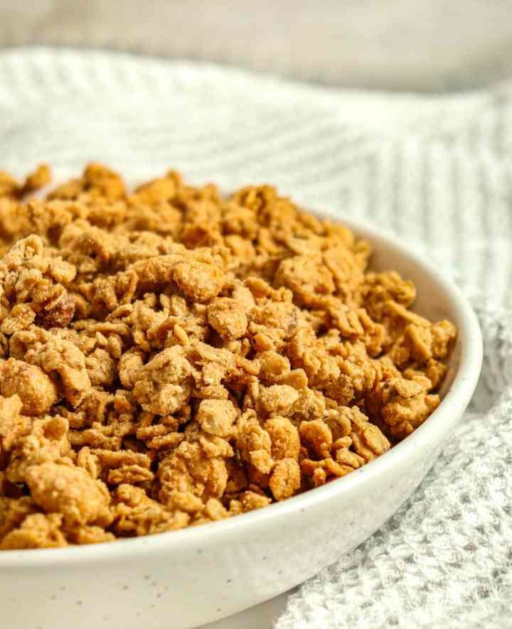 peanut butter granola in a bowl
