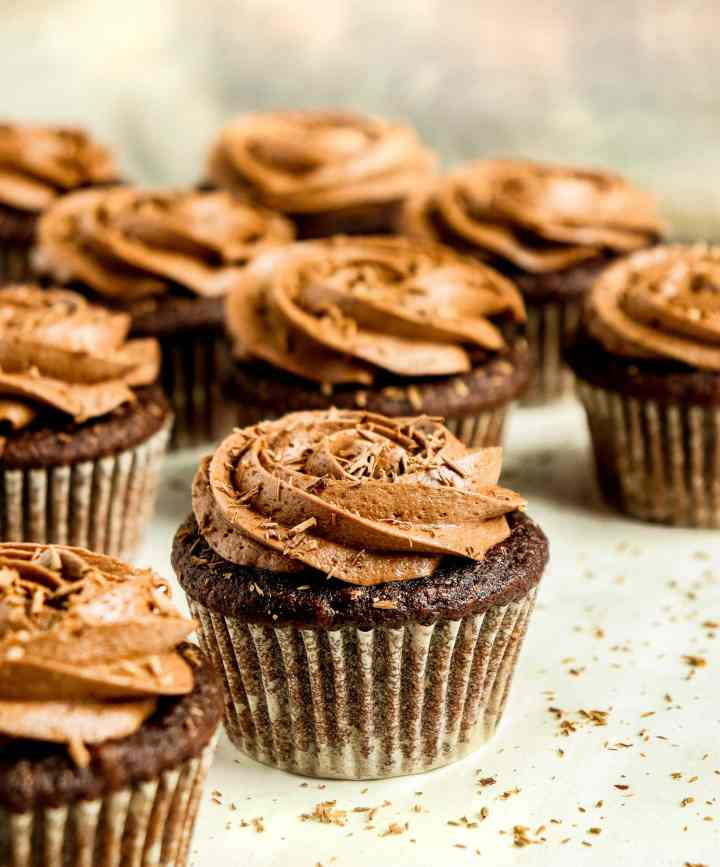 chocolate cupcakes topped with chocolate frosting and chocolate shavings