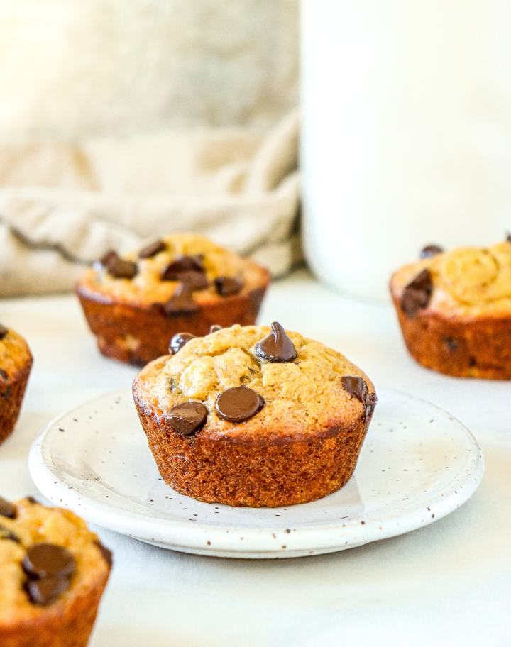 banana muffin with chocolate chips on a plate