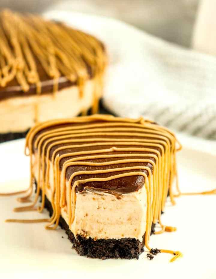 slice of chocolate peanut butter cheesecake