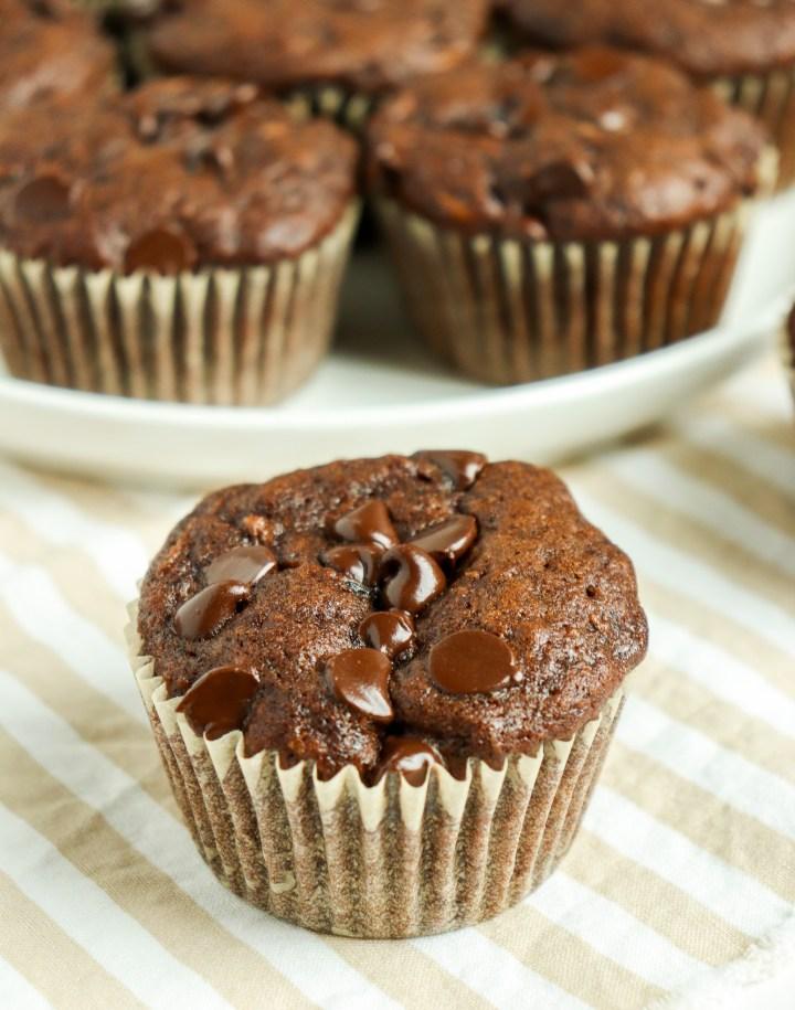 double chocolate zucchini muffin