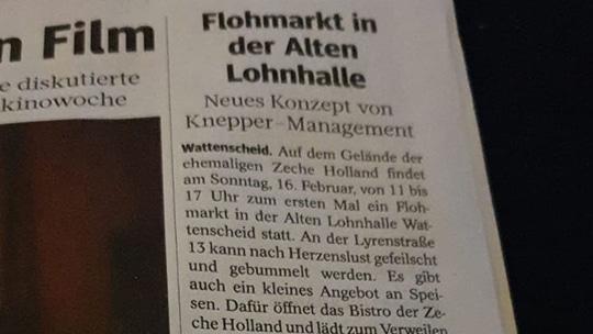 Knepper Management - Presse - WAZ - Flohmarkt in der Alten Lohnhalle - Neues Konzept von Knepper - Management