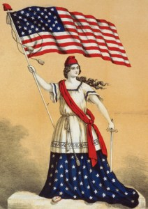 illustration of a woman holding an American flag