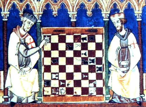 """""""Libro de los Juegos"""" (1283 AD), Knights Templar paying Chess"""