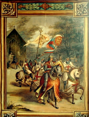 The Knights Templar in nobility escorting a royal dignitary, painting in Rothley Chapel