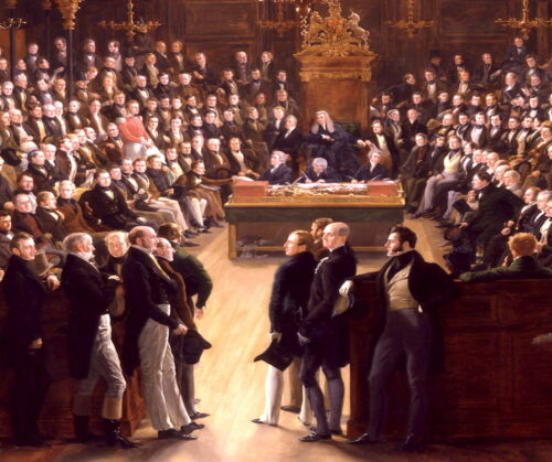 'The House of Commons' (1833 AD) by Sir George Hayter, in British National Portrait Gallery (Detail)