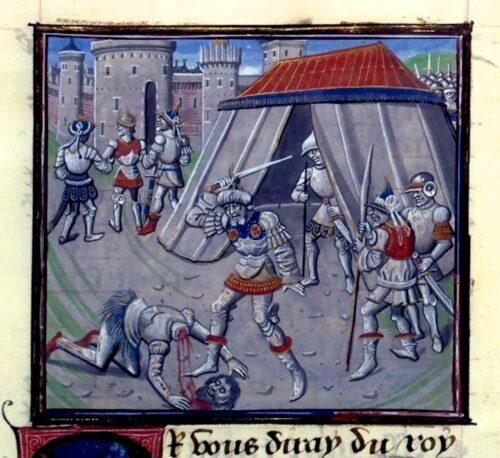 'Mort de Renaud de Chatillon' (15th century) illumination in 'Historia' by Guillaume de Tyr (William of Tyre), in Biblioteque Nationale de France (Mss. Fr. 68, Folio 399).
