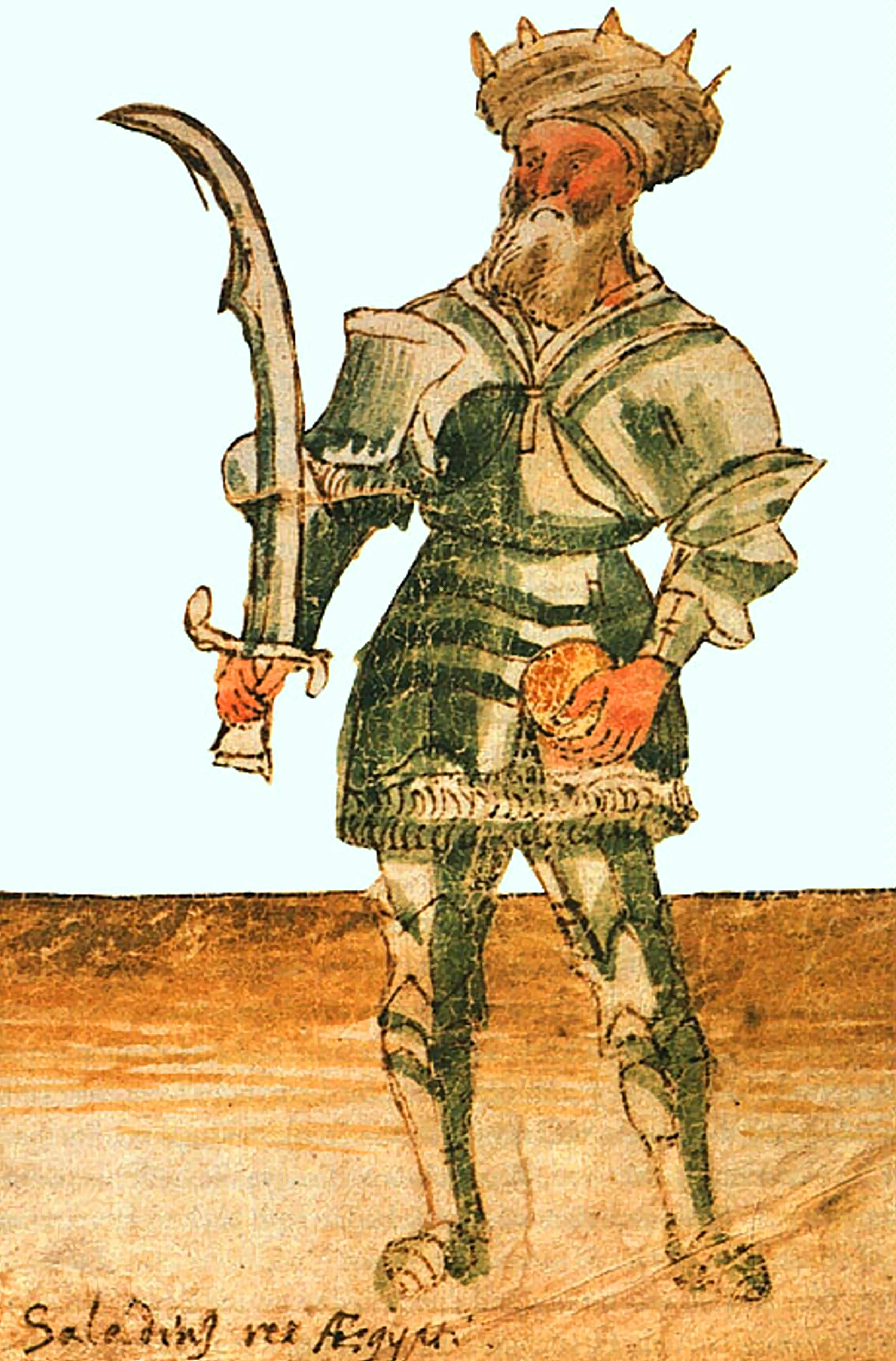 'Saladin Rex Aegypti' (Saladin King of Egypt), painting in 15th century manuscript, holding bread as a symbol of peace offering, balanced by the sword