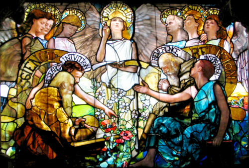 'Education' Louis Tiffany Window (1890 AD), at Yale University, portraying Science & Religion in harmony